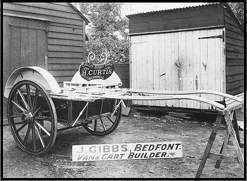 Milk delivery cart built by Gibbs for H. Curtis of Stanwell.