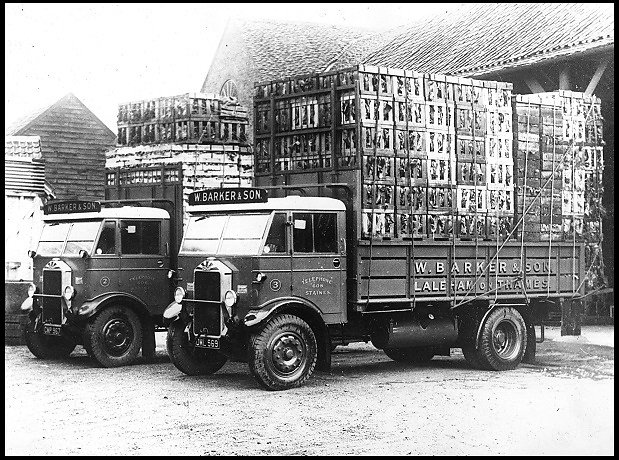 Loaded market lorries built by Gibbs and belonging to W. Barker & Son of Laleham on Thames.
