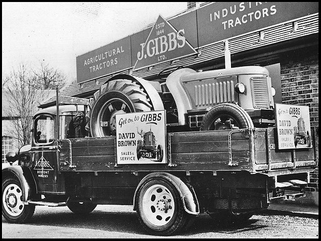 A Gibbs lorry carrying a David Brown tractor from the early 1950's.