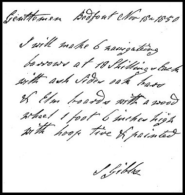 Letter from John Gibbs dated 1850, to a customer confirming an order for barrows.