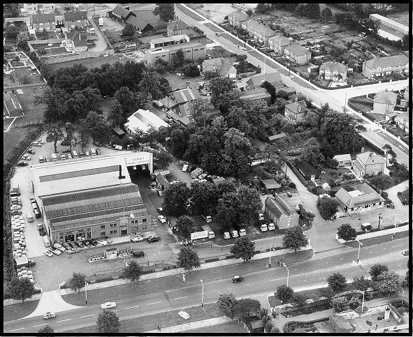 Aerial view of the site at Bedfont taken in the 1960's.