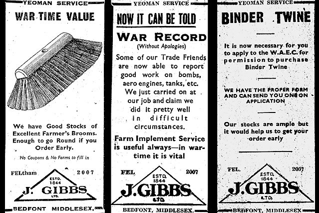 Advertisements for Gibbs dating back to World War Two, illustrating how even basic items were difficult to obtain.