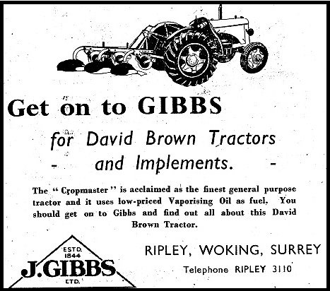 A Gibbs advertisement for David Brown tractors from the 1949.